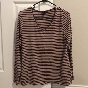 Long sleeve stripes purple Ann Taylor